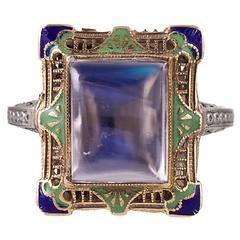 Blue Flash Moonstone & Enamel Filigree Ring