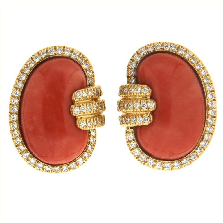 Coral Diamond Gold Bean Earrings
