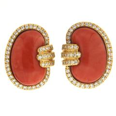 Coral and Diamond Gold Bean Earrings