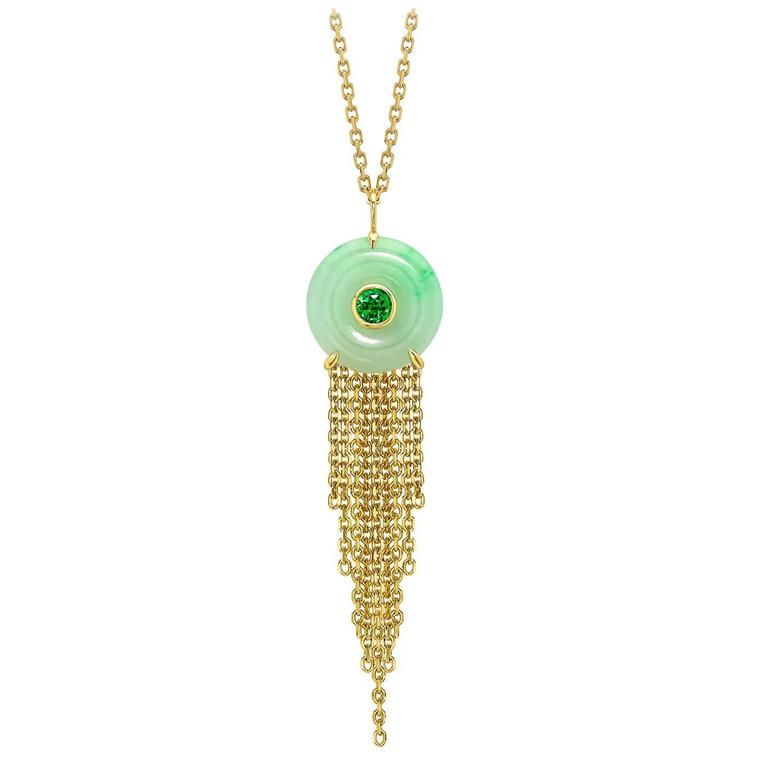 Ana De Costa Yellow Gold GreenJade Green Tsavorite Circular Disc Drop Pendant