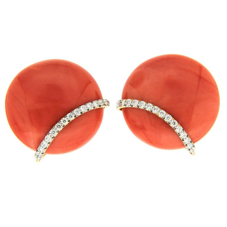 Coral Diamond Gold Button Earrings