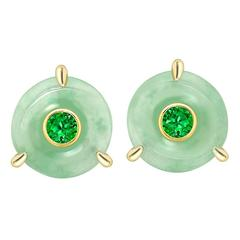 Ana de Costa Handmade Tsavorite Jade Gold Stud Earrings