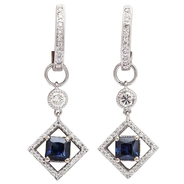 Sapphire Diamond Gold Huggie Earrings with Earring Charms