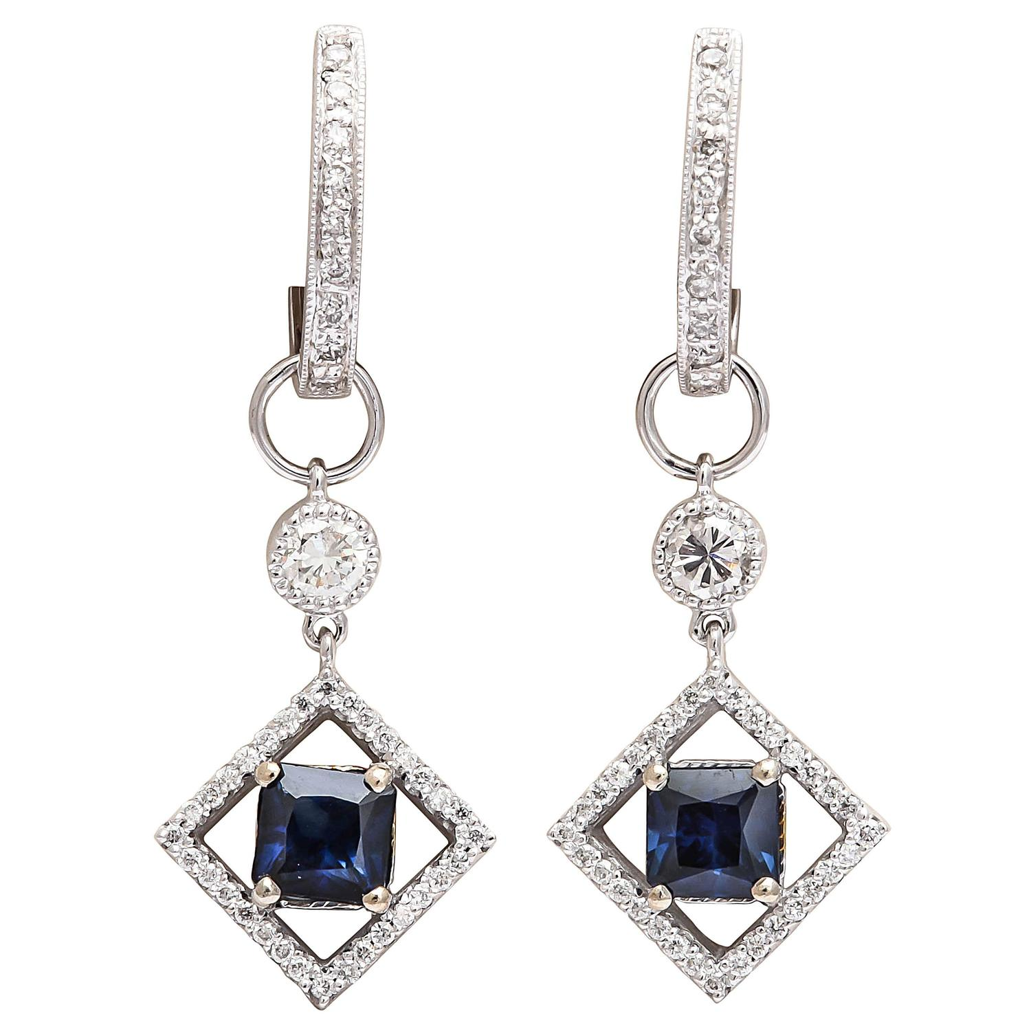 Sapphire Diamond Gold Huggie Earrings with Earring Charms For Sale