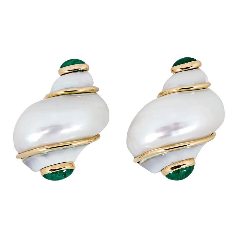 Seaman Schepps Shell Emerald Gold Earrings