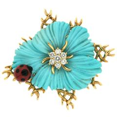 Small Flower Turquoise Pin with Coral Beetle
