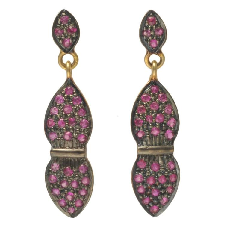 Faceted Pave`-Set Ruby Earrings in Gold and Sterling Silver