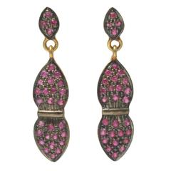 Faceted Pave, Set Ruby Earrings in Gold and Sterling Silver