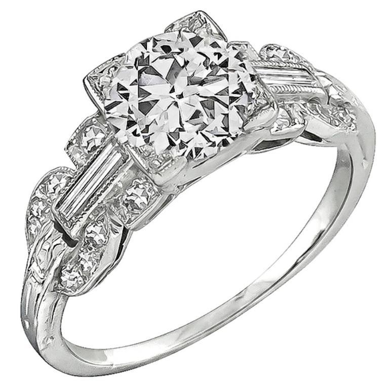 Art Deco GIA Cert 1.02 Carat Diamond Platinum Engagement Ring