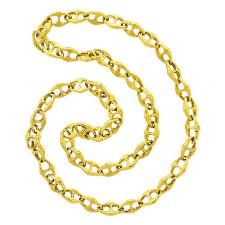 1970s Gold Anchor Chain Necklace Bracelet at 1stdibs