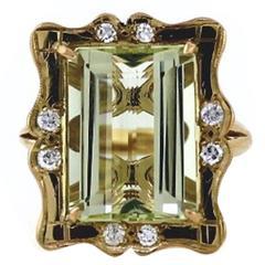 1960s Green Beryl Gold Ring