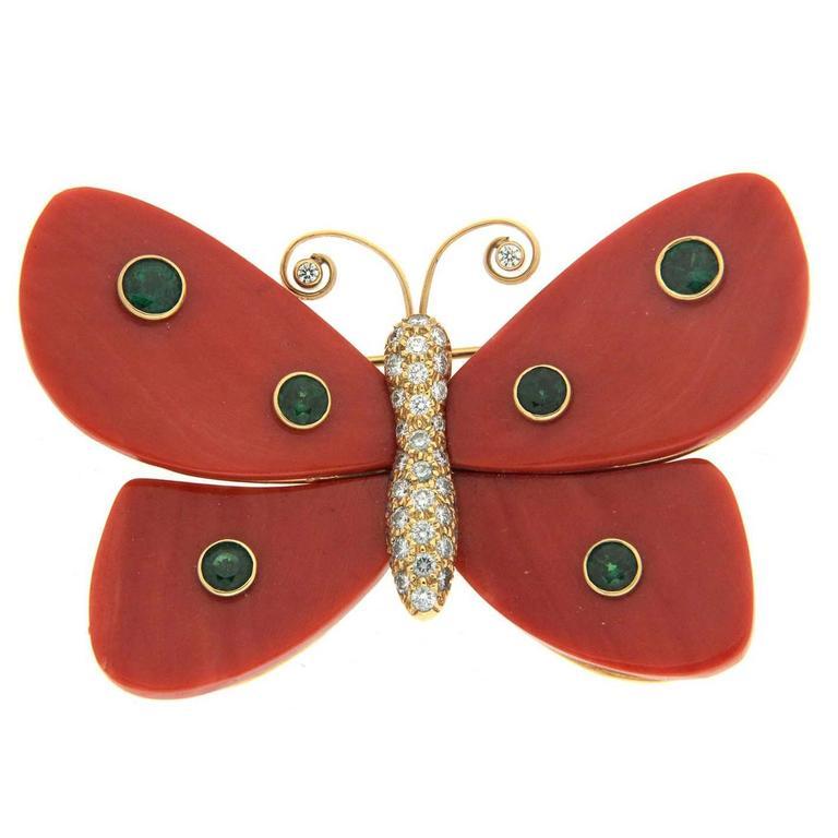 Valentin Magro Mariposas Large Coral Tsavorite Diamond Gold Butterfly Pin