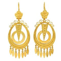 Antique Yellow Gold Chandelier Earrings