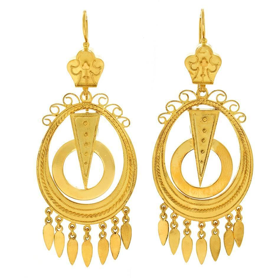 Antique Yellow Gold Chandelier Earrings For Sale at 1stdibs