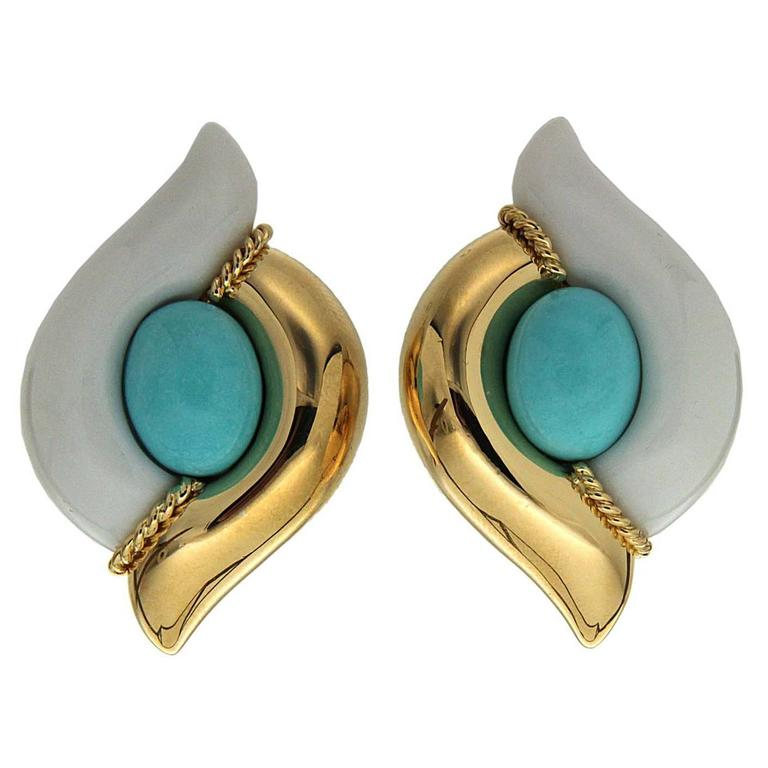 Turquoise Earrings with half gold and half cocolon