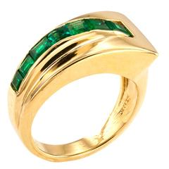 Tiffany Modernist Emerald Gold Band Ring