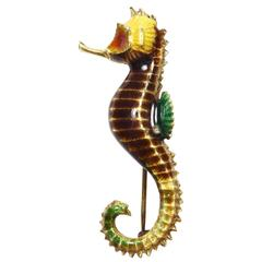 Multi-Color Enamel Gold Seahorse Brooch