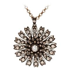 1840s Victorian Rose Cut Diamond Silver Pendant