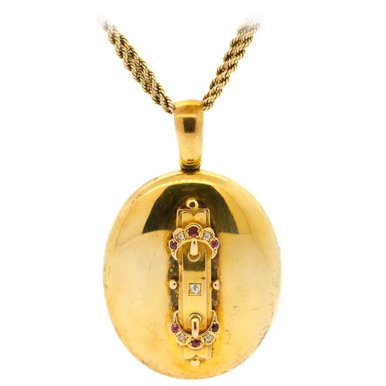 1867 Victorian English Ruby Diamond Gold Locket