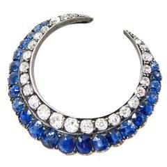 Antique Victorian Sapphire Diamond Crescent Brooch