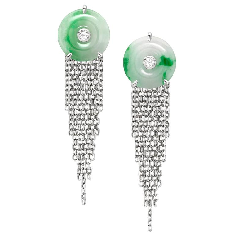 Ana De Costa White Gold White Diamond Green Jade Circular Disc Drop Earrings