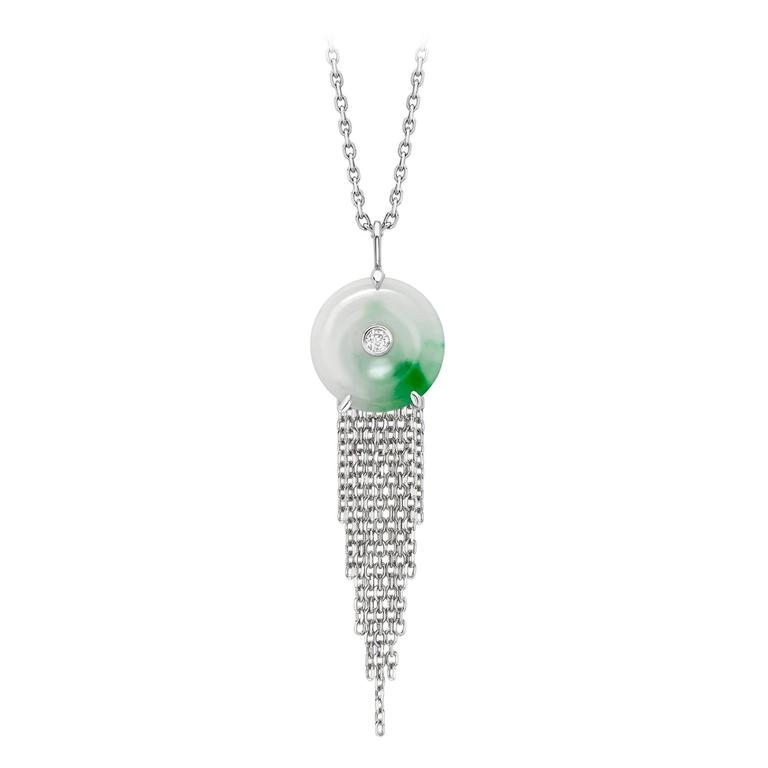 Ana de Costa White Gold Green Jade and White Diamond Circular Disc Drop Pendant