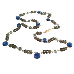 Dalben Kyanite Green Sapphire Fumè Quartz Gold Necklace