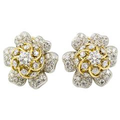 Tiffany & Co. Schulmberger Diamond Gold Platinum Flower Earrings