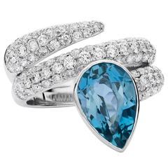 Aquamarine Diamond gold Snake Ring