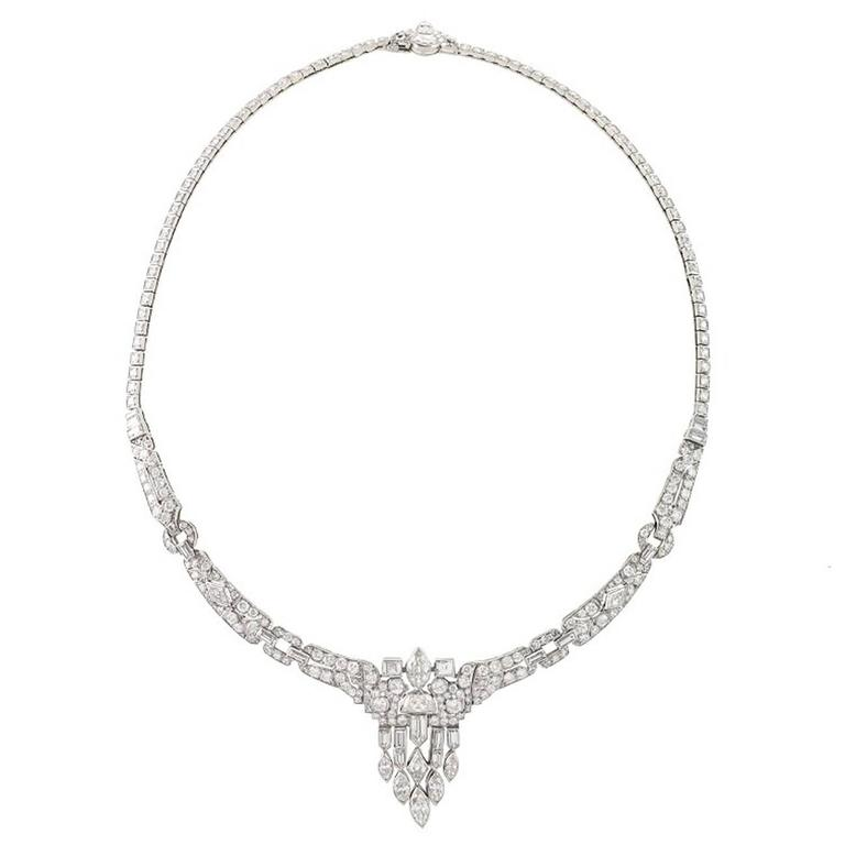 1920's Art Deco Diamond and Platinum Necklace 1