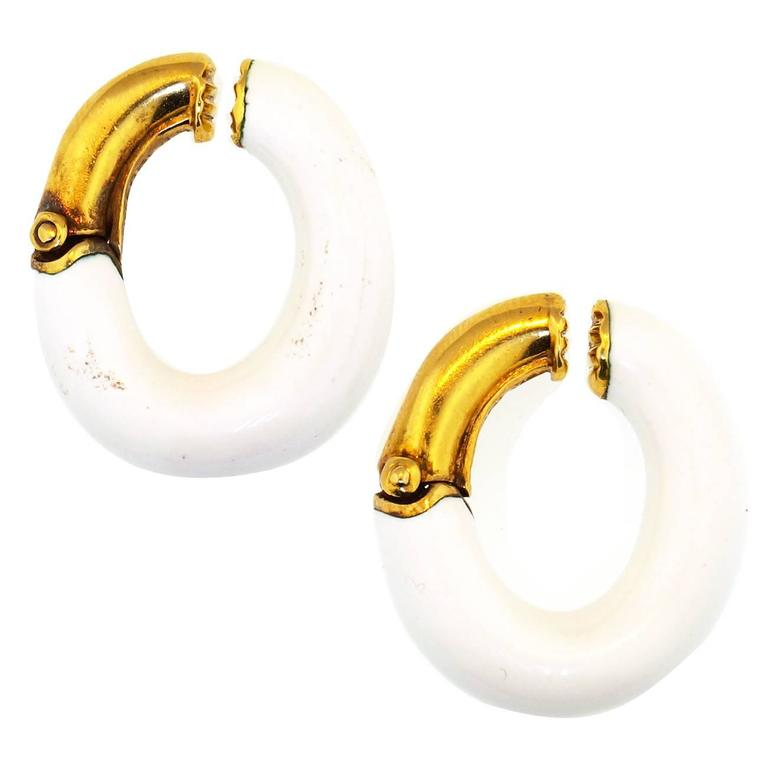 David Webb Enamel Gold Earrings 1