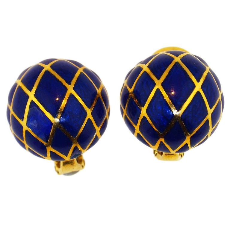 David Webb Blue Enamel Gold Dome earrings 1
