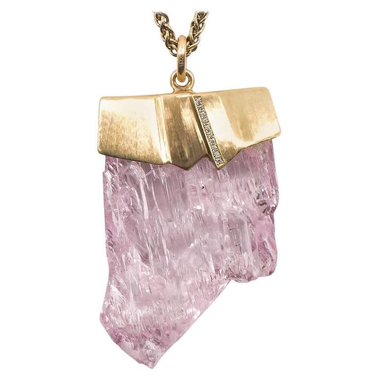 Naomi Sarna Kunzite Diamond Gold Pendant For Sale