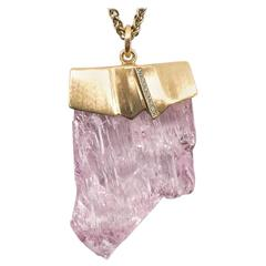 Naomi Sarna Kunzite Diamond Gold Pendant