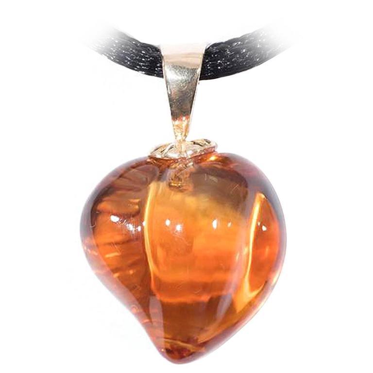 Naomi Sarna Carved Citrine Heart Pendant For Sale