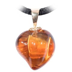 Naomi Sarna Carved Citrine Heart Pendant