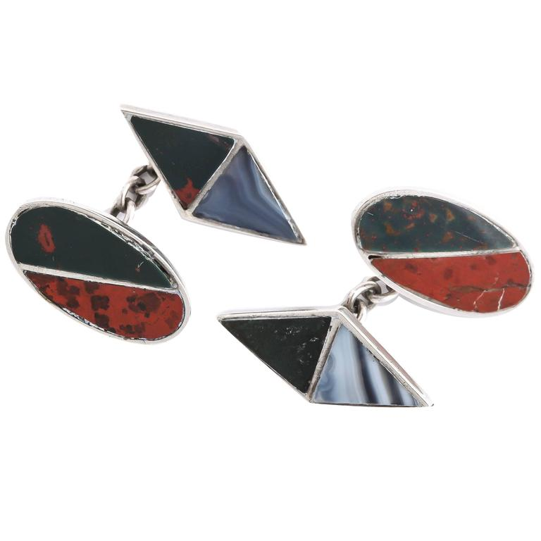 J. Cook & Sons Ltd. Sterling Silver Agate Cufflinks For Sale
