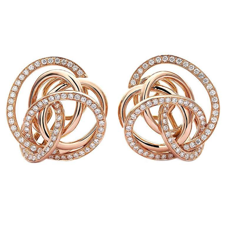 half diamond version diamond Gold Camelia Earrings 1