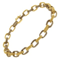 Jona White and Yellow 18 Karat Gold Woven Chain Link Bracelet