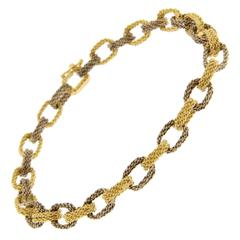 Jona Yellow and White Woven 18k Gold Chain Bracelet