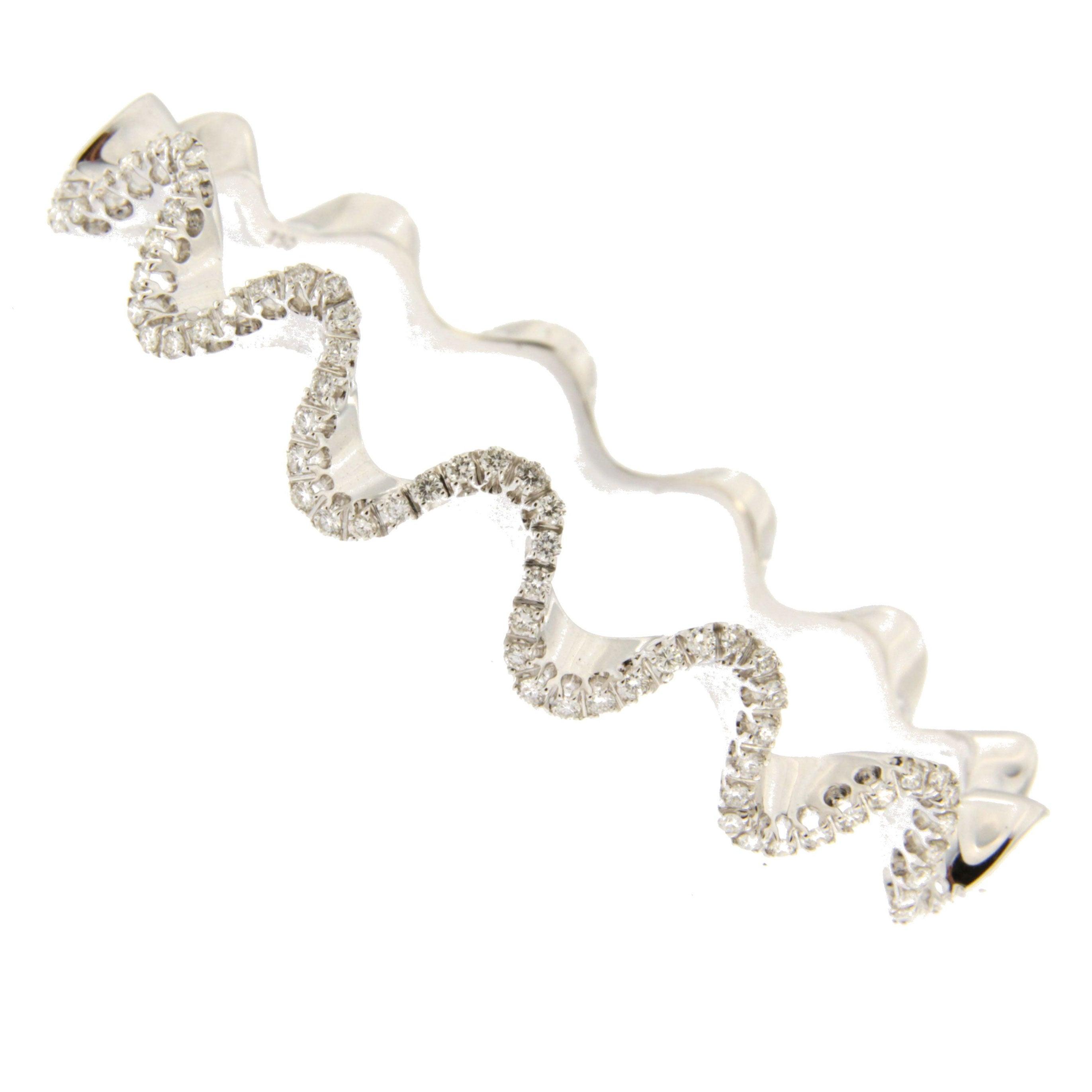 Jona White Diamond 18 Karat White Gold Wave Bangle Bracelet