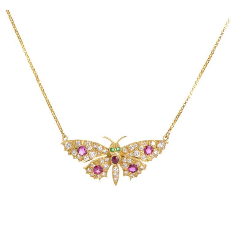 Garrard Precious Gemstone Gold Butterfly Necklace