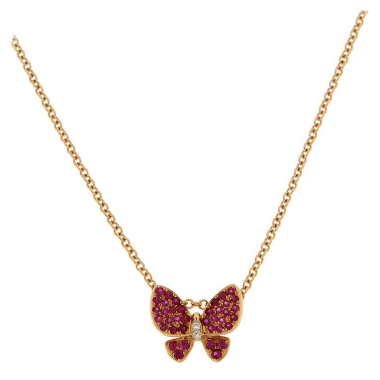 Jona Pink Sapphire White Diamond 18 Karat Rose Gold Butterfly Pendant Necklace For Sale