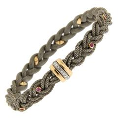 Jona Pink Sapphire Diamond Stainless Steel and 18 Karat Gold Bracelet
