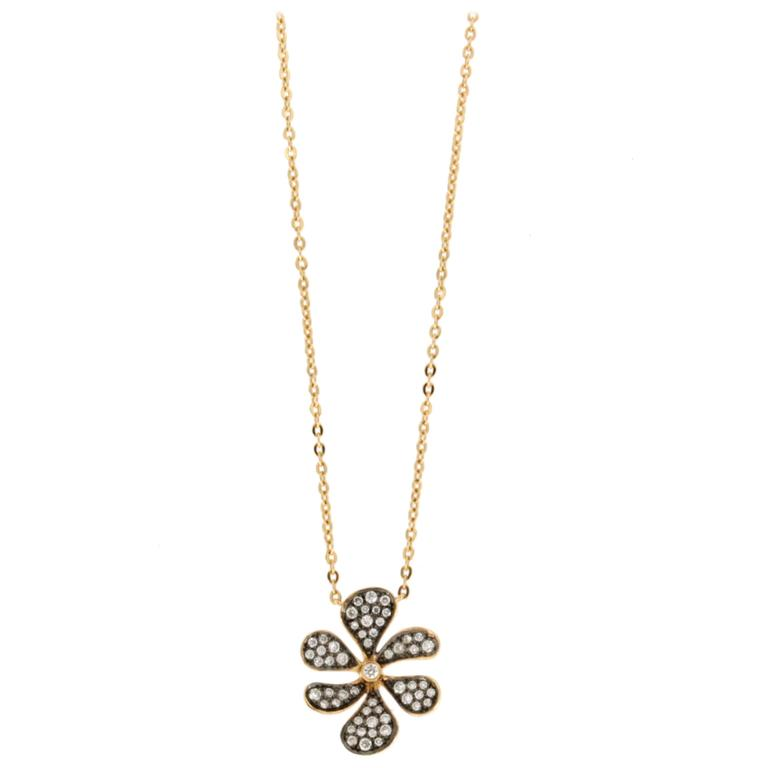 Jona White Diamond 18 Karat Rose Gold Flower Pendant Necklace