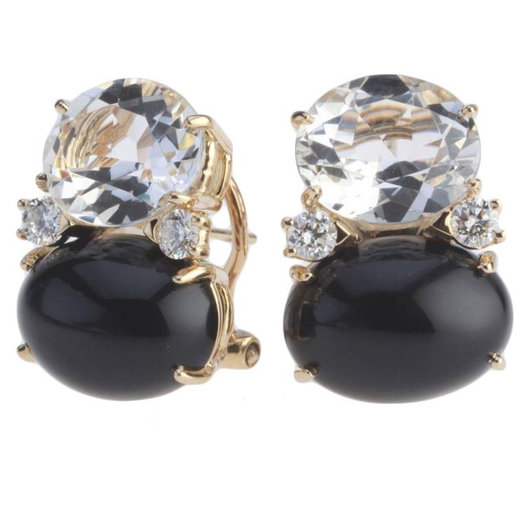 Large GUM DROP™ Earrings with Rock Crystal and Cabochon Onyx and Diamonds For Sale