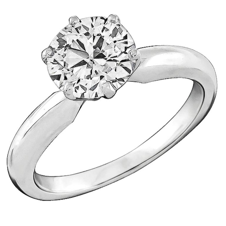 1.48 Carat GIA Cert Diamond gold Solitaire Engagement Ring For Sale