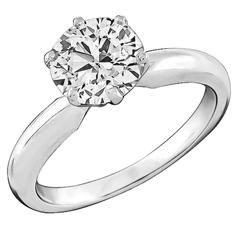 1.48 Carat GIA Cert Diamond gold Solitaire Engagement Ring