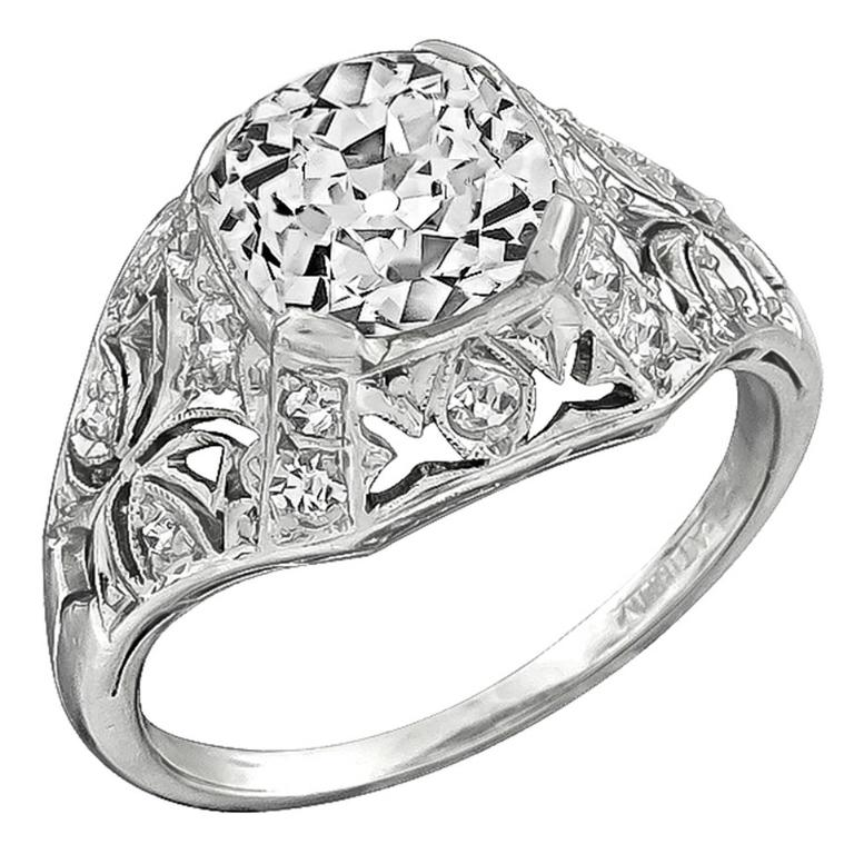 2.03 Carat Old Mine Brilliant Cut Diamond Platinum Engagement Ring
