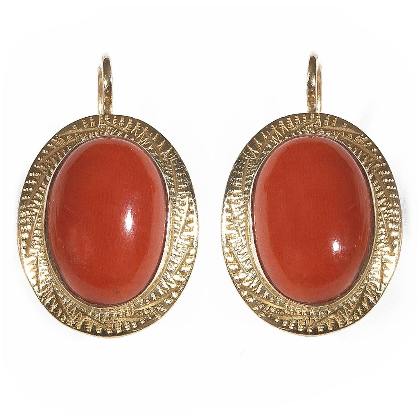coral gold oval earrings at 1stdibs